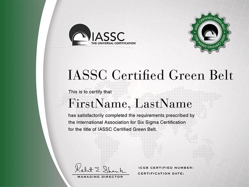 Lean Six Sigma Green Belt Exam Iassc Certified Green Belt Icgb Exam